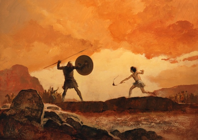 David and Goliath, illustration from 'Bible Stories', 1968 (colour litho)